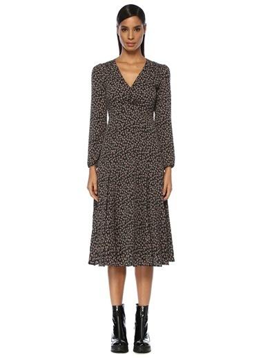 Beymen Club V Yaka Çiçekli Uzun Kol Midi Elbise Siyah